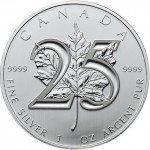 2013 25th Anniversary Canadian Silver Maple Leaf (BU)
