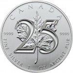 2013 25th Anniversary Canadian Silver Maple Leaf (BU)